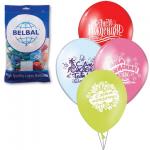 Воздушные шары Веселая Затея с Днем Рождения 12 цветов, 30см, 50шт, в пакете, 1103-0081