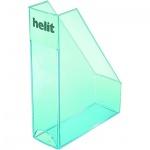 Накопитель вертикальный для бумаг Helit Economy Transparent А4, 85мм, прозрачный голубой