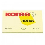 Блок для записей с клейким краем Kores желтый, пастельный, 125х75мм, 100 листов