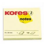 Блок для записей с клейким краем Kores желтый, пастельный, 75х50мм, 100 листов