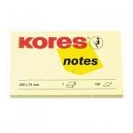 Блок для записей с клейким краем Kores желтый, пастельный, 100х75мм, 100 листов