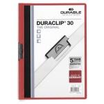 Пластиковая папка с клипом Durable Duraclip, А4, до 30 листов, красная