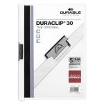 Пластиковая папка с клипом Durable Duraclip, А4, до 30 листов, белая