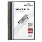 Пластиковая папка с клипом Durable Duraclip, А4, до 30 листов, темно-зеленая