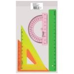 Набор чертежный Стамм 4 предмета, линейка 16см, треугольник 2 шт, транспортир, цветной, НГ12