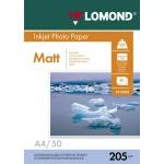 Фотобумага для струйных принтеров Lomond А4, 50 листов, 205г/м2, матовая, односторонняя, 102085