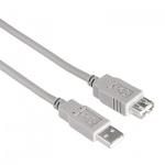 Кабель удлинительный USB 2.0 Hama A-A (m-f) 1.5 м, серый, H-53725