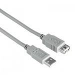 Кабель удлинительный USB 2.0 Hama A-A (m-f) 1.8 м, серый, H-30619