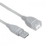 Кабель удлинительный USB 2.0 Hama A-A (m-f) 1.8 м, серый