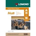 Фотобумага для струйных принтеров Lomond А5, 50 листов, 230 г/м2, матовая, 102069