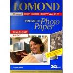 Фотобумага для струйных принтеров Lomond А4, 20 листов, 265г/м2, полуглянцевая, двуст.,1106301