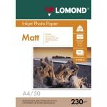 Фотобумага для струйных принтеров Lomond А4, матовая, 50 листов, 230г/м2, односторонняя, 0102016