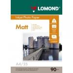 Фотобумага для струйных принтеров Lomond А4, 25 листов, 90г/м2, матовая, односторонняя, 102029