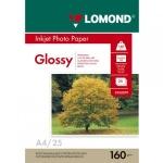 Фотобумага для струйных принтеров Lomond А4, 25 листов, 160г/м2, глянцевая, 102079, 25 листов
