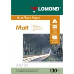 Фотобумага для струйных принтеров Lomond А4, 25 листов, 130 г/м2, матовая, двусторонняя, 102039, 25 листов