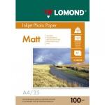 Фотобумага для струйных принтеров Lomond А4, 25 листов, 100 г/м2, матовая, двусторонняя, 102038