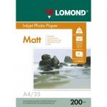 Фотобумага для струйных принтеров Lomond А4, 200 г/м2, матовая, двусторонняя, 25 листов