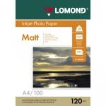 Фотобумага для струйных принтеров Lomond А4, 100 листов, 120г/м2, матовая, односторонняя, 102003