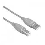 Кабель соединительный USB 2.0 Hama A-B (m-m) 3 м, серый, H-45022