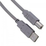Кабель соединительный USB 2.0 Hama A-B (m-m) 5 м, серый, H-29195