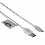 Кабель соединительный USB 2.0 Hama A-B-mini (m-m), прозрачный, 3м