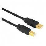 Кабель соединительный USB 2.0 Hama A-B (m-m) 3 м, позолоченные контакты, черный, H-29767