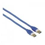 Кабель соединительный USB 3.0 Hama A-A (m-m) 1.8 м, позолоченные контакты, синий, H-39676