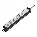 Удлинитель электрический Hama 6 розеток, 2м, черно-белый, H-47821