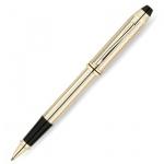 Ручка-роллер Cross Townsend 10Ct Rolled Gold черная, корпус черно-золотой хром