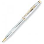 Ручка шариковая Cross Century II Medalist Chrome черная, корпус серебристый хром с золотом