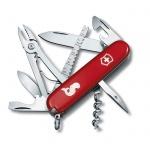 Нож офицерский 91мм Victorinox Angler 1.3653.72, 18 функций, 4 уровня, красный, с логотипом рыба