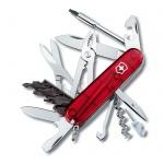 Нож офицерский 91мм Victorinox CyberTool 34 1.7725.T, 34 функции, 5 уровней, красный полупрозрачный