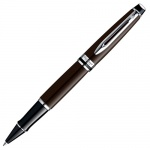 Ручка-роллер Waterman Expert 3 F, черная, коричневый корпус