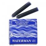 Картридж для перьевой ручки Waterman S0110950 синий, 6шт