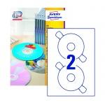Этикетки для CD/DVD Avery Zweckform L6043-100, белые матовые, d=117мм, 2шт на листе А4, 100 листов,