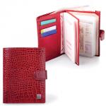 Обложка для документов Sergio Belotti Ящерица красная, натуральная кожа, 6 карманов
