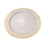 Тарелка одноразовая Horeca с золотым ободком белая, d=23см, 20шт/уп