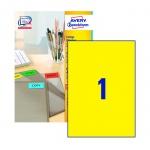 Этикетки самоклеящиеся Avery Zweckform 3473, желтые, 210х297мм, 1шт на листе А4, 100 листов, 100шт,