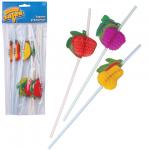 Трубочки для коктейлей Веселая Затея фрукты разноцветные, 10см, 12шт