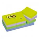Блок для записей с клейким краем Post-It Classic 4 цвета, неон, 38x51мм, 12х100 листов, 653-МТ
