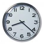 Часы настенные Икеа Пугг бело-хромированные, d=32см