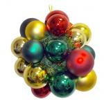 Гроздь шаров 60/70мм, золотисто-красное с зеленым, 418645