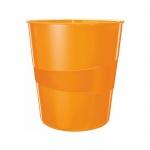 Корзина для бумаг Leitz WOW 15л, с держателем, оранжевая