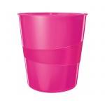 Корзина для бумаг Leitz WOW 15л, с держателем, розовая