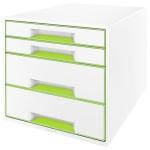 Бокс для бумаг Leitz Wow 287x270x363мм, 4 ящика, бело-зеленый, 52131064