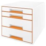 Бокс для бумаг Leitz Wow 287x270x363мм, 4 ящика, бело-оранжевый, 52131044