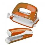 Набор степлер+дырокол Leitz Wow NeXXt, мини, оранжевый металлик
