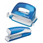 Набор степлер+дырокол Leitz NeXXt WOW синий, мини, 55612036
