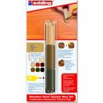 Мелок для мебели Edding 8902, 3 цвета, для маскировки трещин на деревянных поверхностях, орех