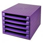 Бокс для бумаг Exacompta А4, 387х284х218мм, 5 секций, фиолетовый
